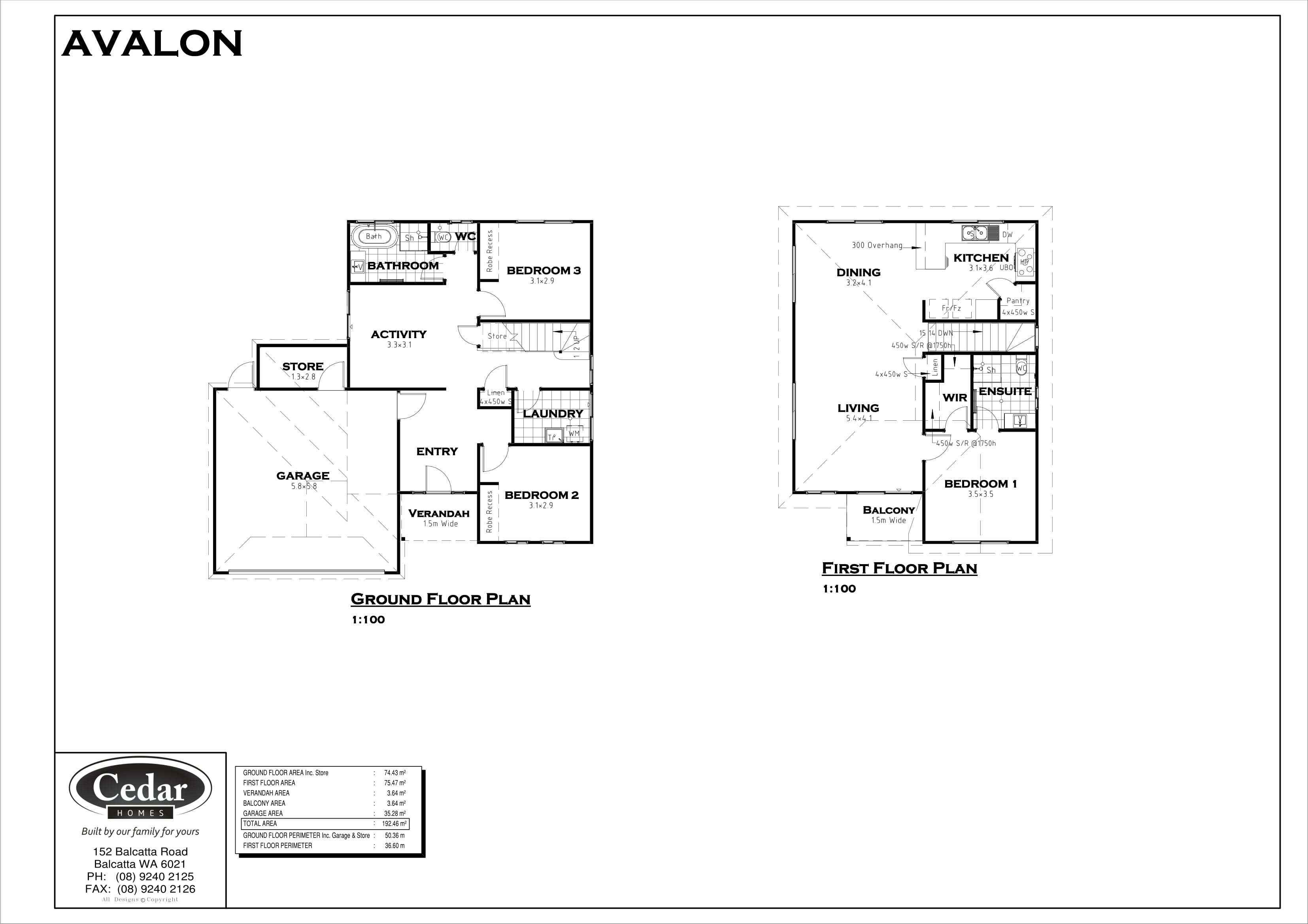 floor plan of the avalon style house against a white background.