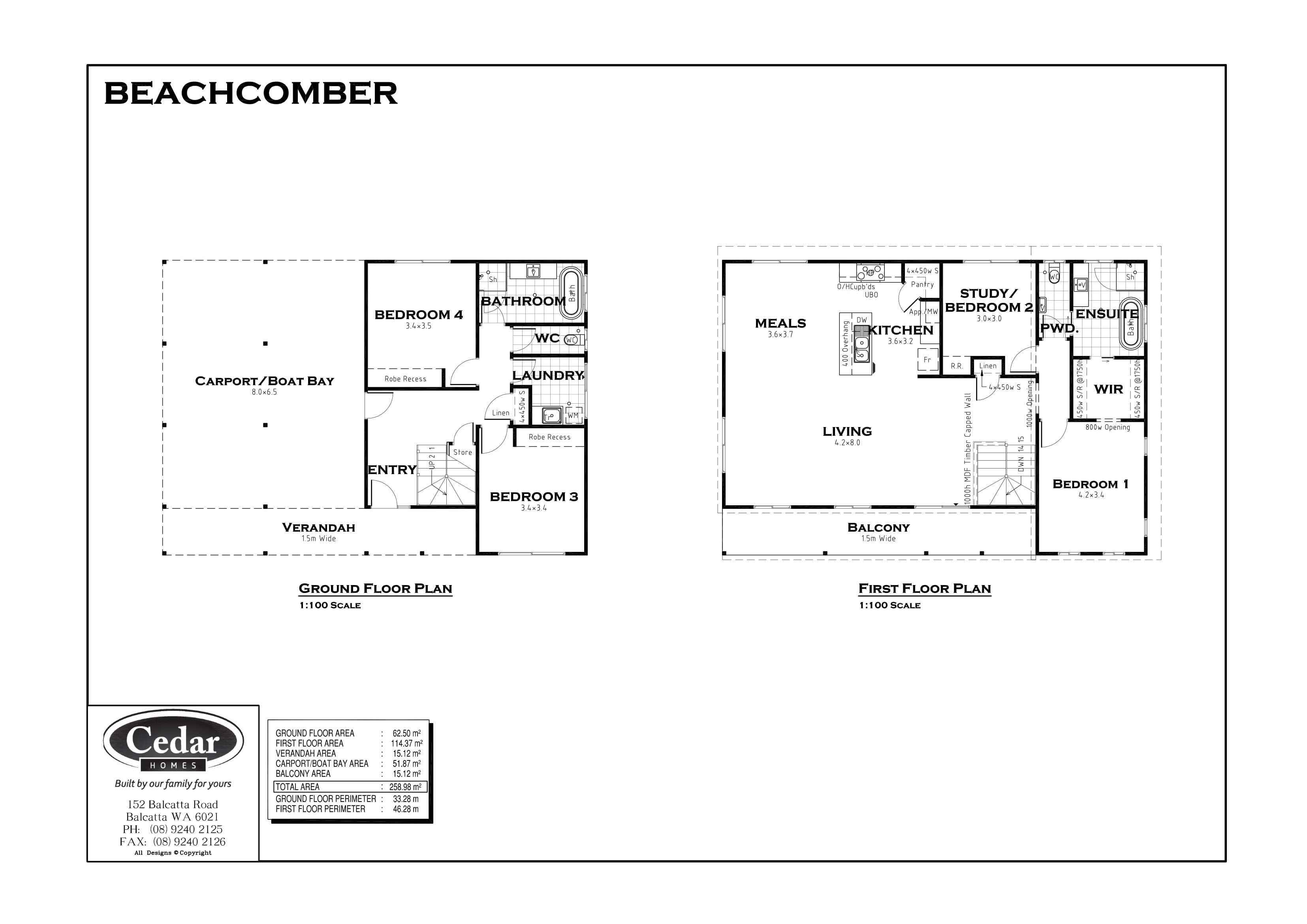 floor plan of tje beachcomber house plan against a white background